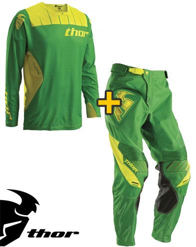 Kit Cross Thor Core Contro - Maglia+ Pantaloni - verde kelly giallo