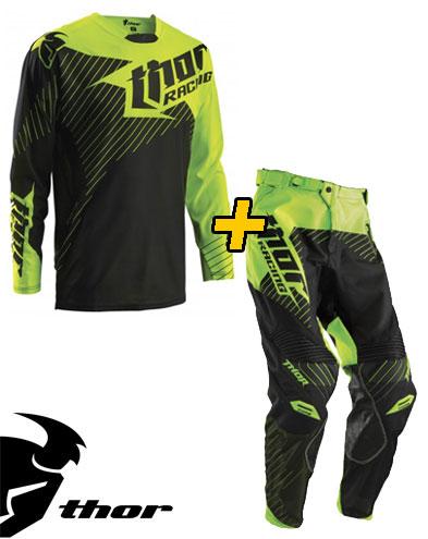 Completo Cross Thor Core Hux - Maglia+ Pantaloni - nero verde fluo