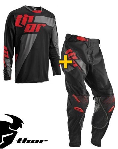 Kit Cross Thor Core Merge - Maglia+ Pantaloni - nero rosso