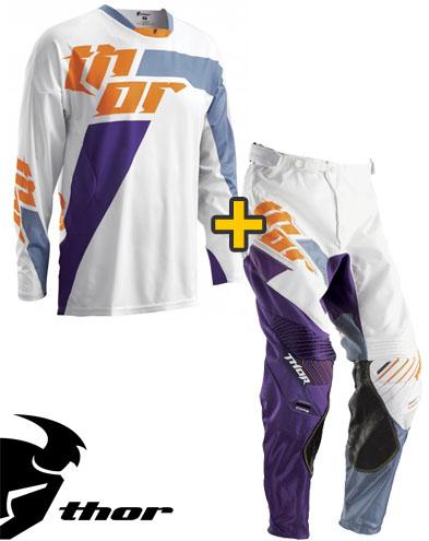 Kit Cross Thor Core Merge - Maglia+ Pantaloni - bianco viola