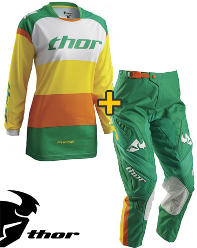 Kit Cross donna Thor Phase Bonnie - Maglia e Pantaloni - verde giallo