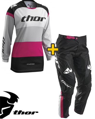Kit Cross donna Thor Phase Bonnie - Maglia e Pantaloni -  nero magenta