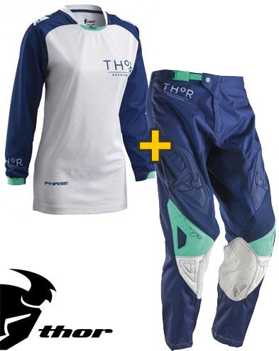 Kit Cross donna Thor Phase Clutch - Maglia e Pantaloni - navy bianco