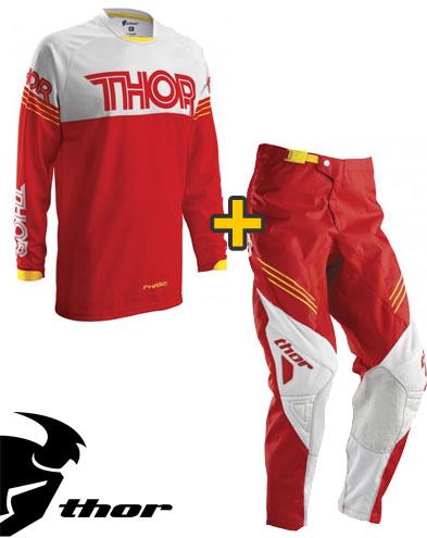 Kit Cross Thor Phase Hyperion - Maglia e Pantaloni - rosso bianco