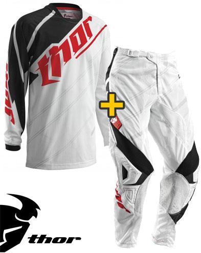 Kit Cross Thor Phase Vented Doppler - Maglia e Pantaloni - bianco nero