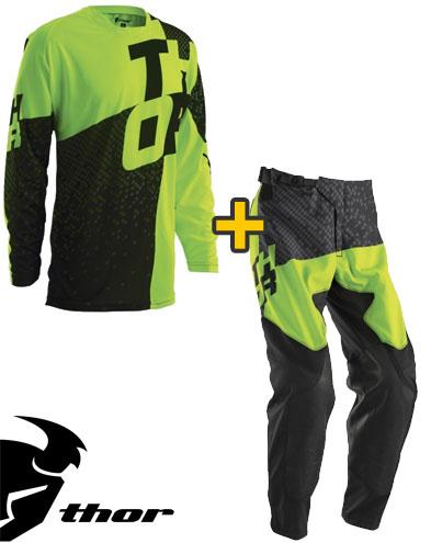 Kit Cross Thor Prime Tach- Maglia+ Pantaloni - nero verde fluo