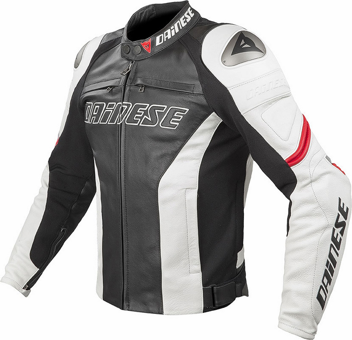 Summer leather motorcycle jacket Dainese Racing C2 Black White R