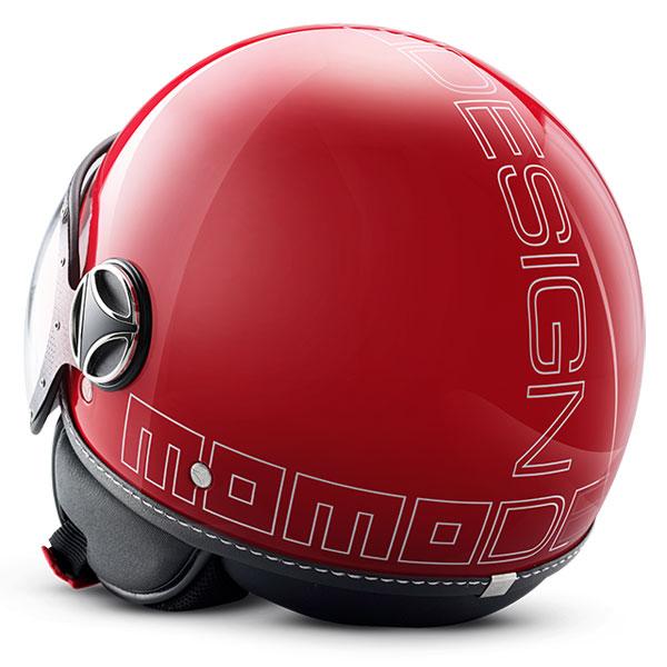 Casco jet Momo Design Fighter Glam rosso Lucido