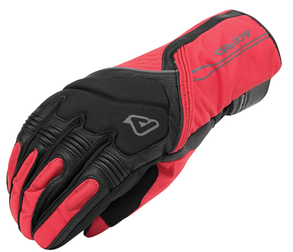 Motorcycle Gloves Black Red Leather Acerbis Cronk