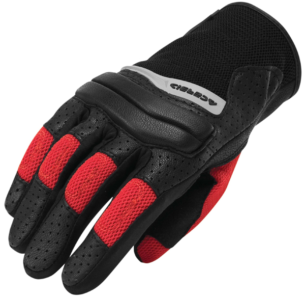 Gloves leather and fabric Acerbis Brandish Black Red