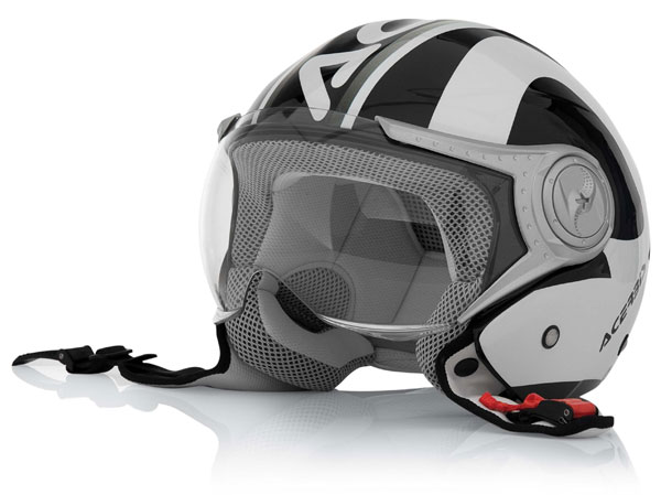 Urban motorcycle helmet jet Jet Black White Acerbis