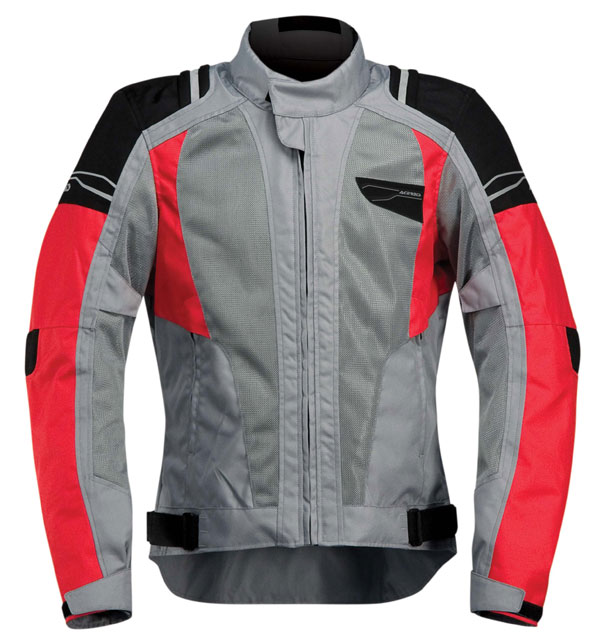 Laxey Acerbis Vented Motorcycle Jacket Grey Red