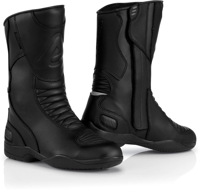 Black leather motorcycle boots Acerbis Jurby