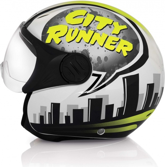 Acerbis X-JET City Runner jet helmet white-yellow