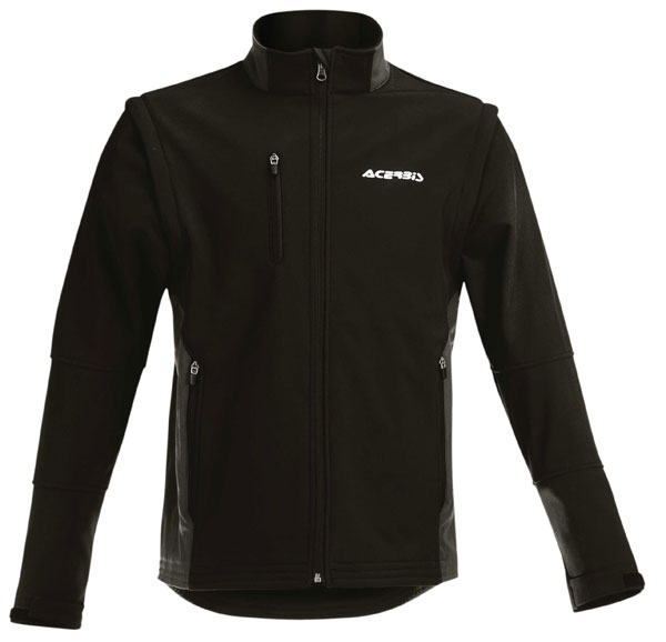 Cross Softshell Jacket in Black Acerbis MX One with sleeves off