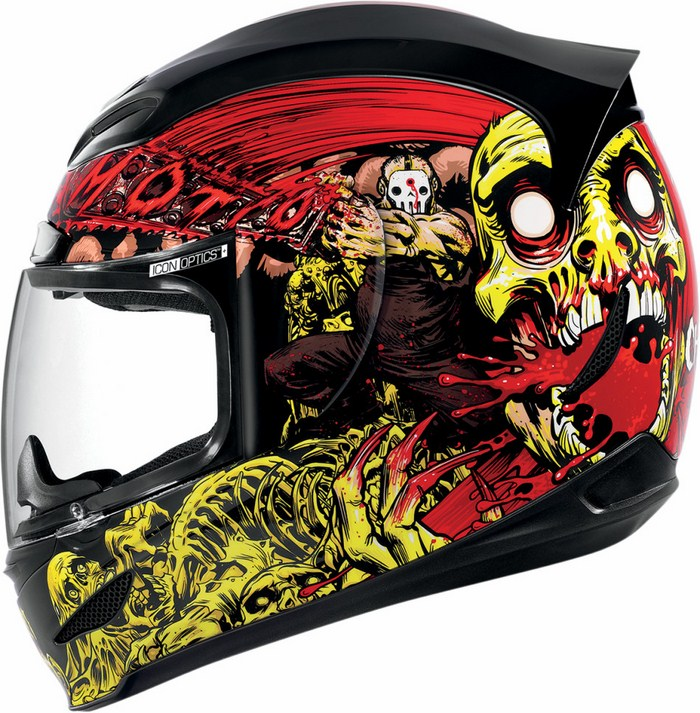 Full Face Helmet Red Yellow Icon Airmada Chainbrain