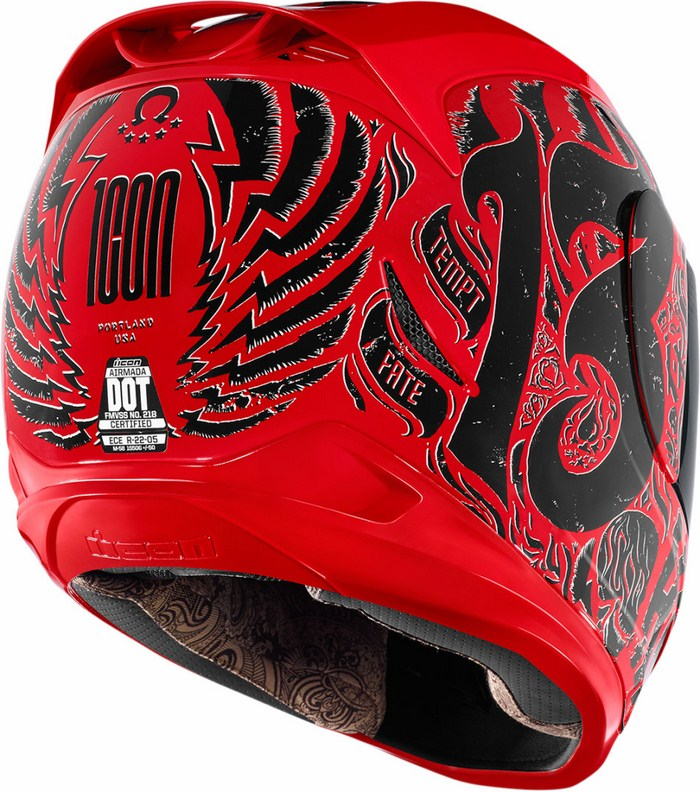Full Face Helmet Icon Hard Luck Red Airmada