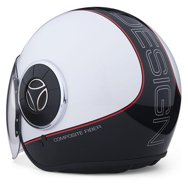Jet Helmet Momo Design Mongoose Polished Quartz White Black Red