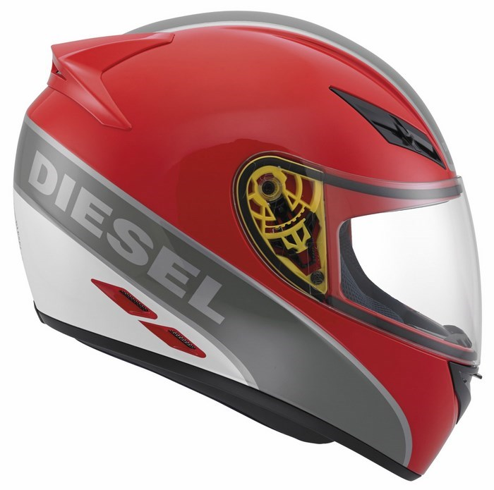 Casco moto Diesel Full-Jack Multi rosso gunmetal grigio