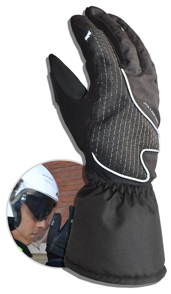Winter Motorcycle Gloves Black Jollisport Moby