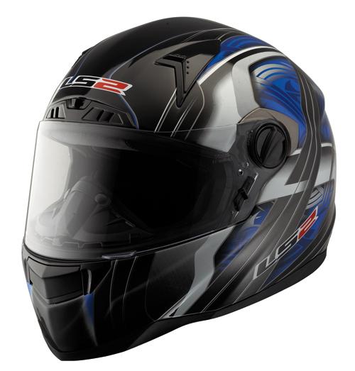 LS2 FT2 Split Full Face Helmet - Col. Gloss Black/Blue