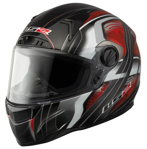 LS2 FT2 Split Full Face Helmet - Col. Gloss Black/Red