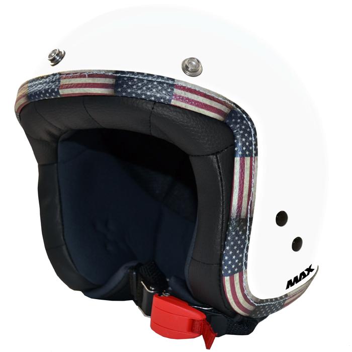 Casco jet Max Flag USA Bianco