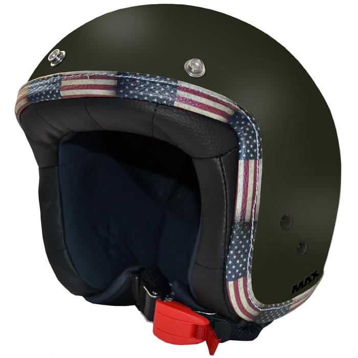 Casco jet Max Flag USA Verde militare
