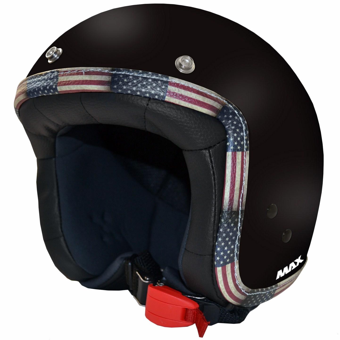 Casco jet Max Flag USA Cromo Nero