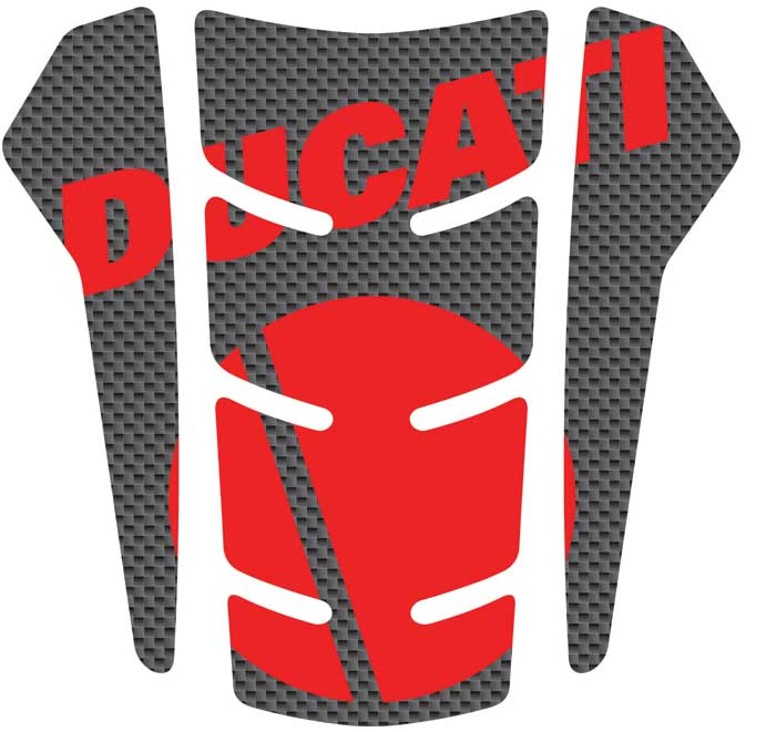 Resin Tank Pad Red Progrip Carbon Ducati