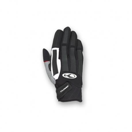 Motorcycle Gloves Black White Clover FRC