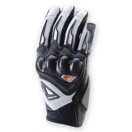 Leather motorcycle gloves summer Clover Raptor R-9 White Black