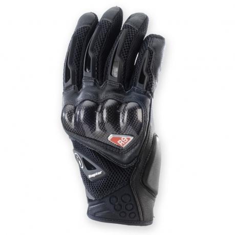 Leather motorcycle gloves summer Clover R-9 Raptor Black