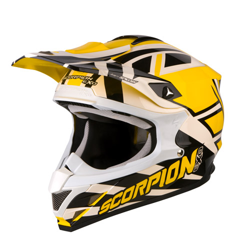 Scorpion VX 15 Air Unadilla off road helmet Yellow White Black