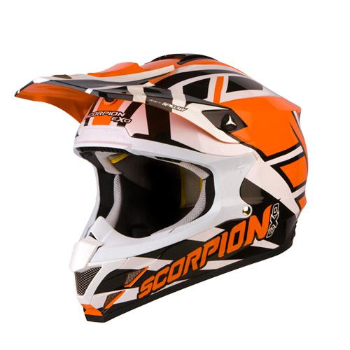 Casco cross Scorpion VX 15 Air Unadilla Arancio Bianco Nero