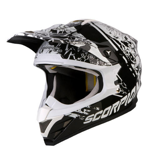 Casco cross Scorpion VX 15 Air Wrap Nero Bianco