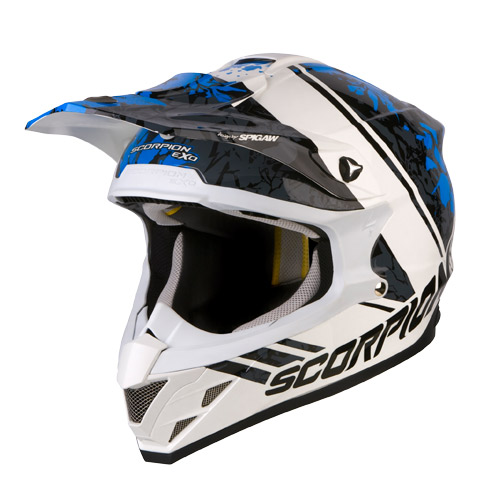 Casco cross Scorpion VX 15 Air Wrap Bianco Blu Nero