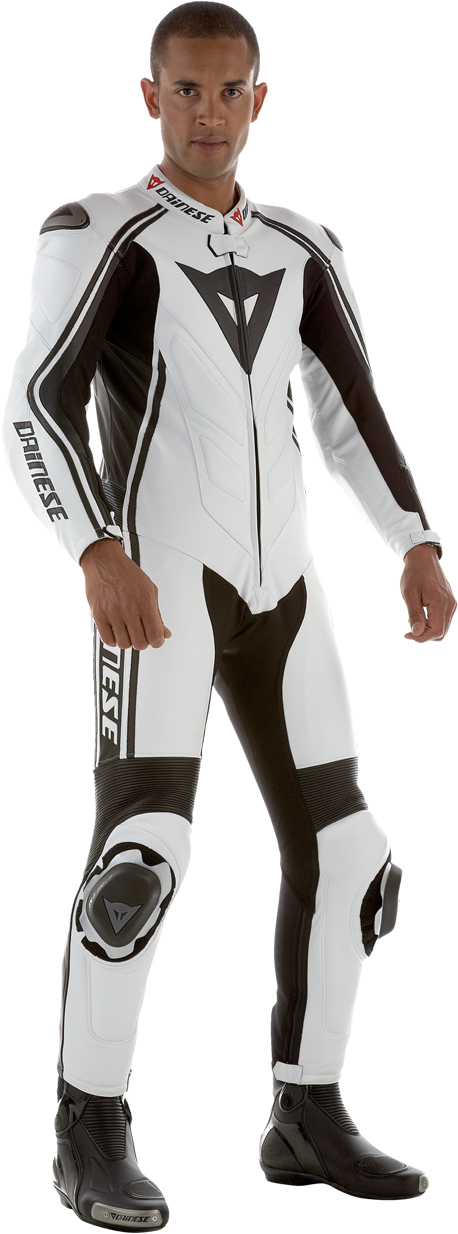 Dainese Stripes Prof summer leather suit white-black