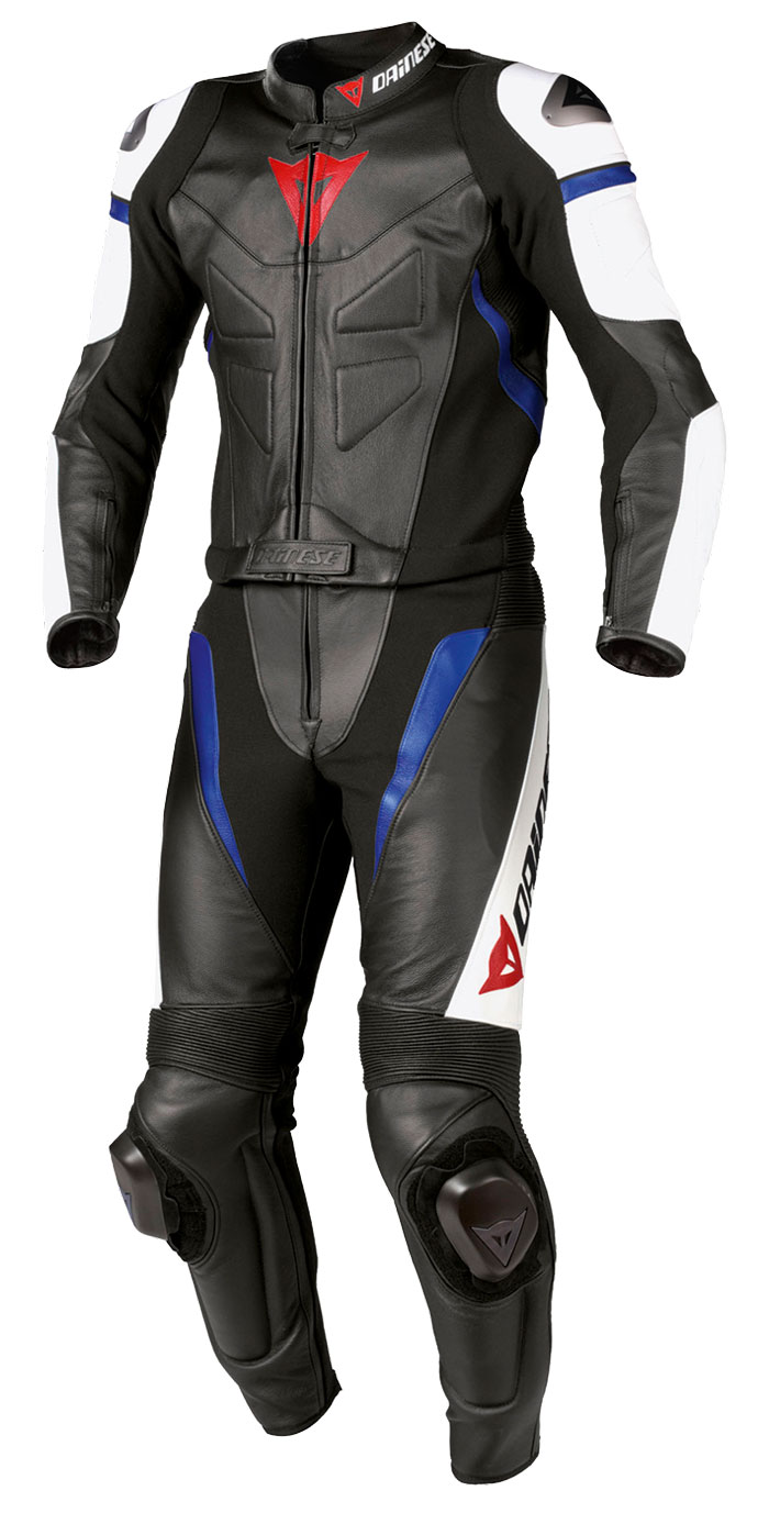 Divisible leather biker motorcycle jacket Dainese Avro Blue Blac