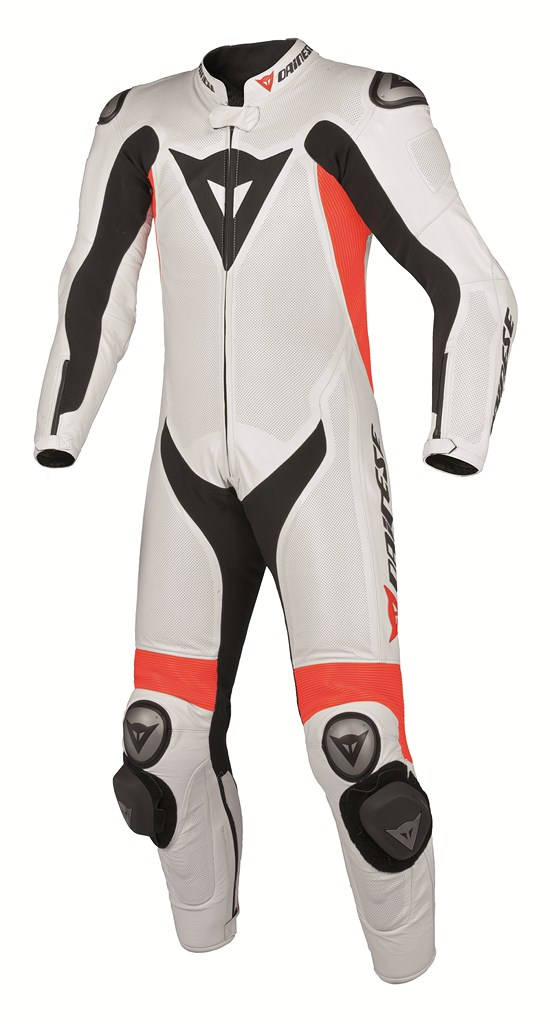 Dainese Team P. Estiva Leather suit white-red fluo