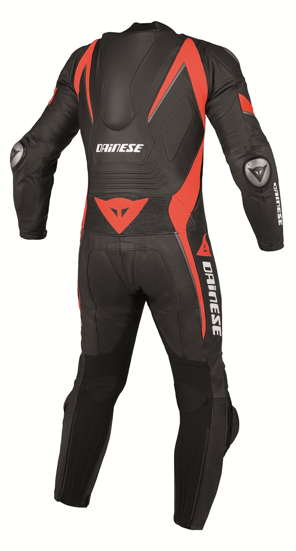 Dainese Aero Evo P. leather suit black black black red fluo