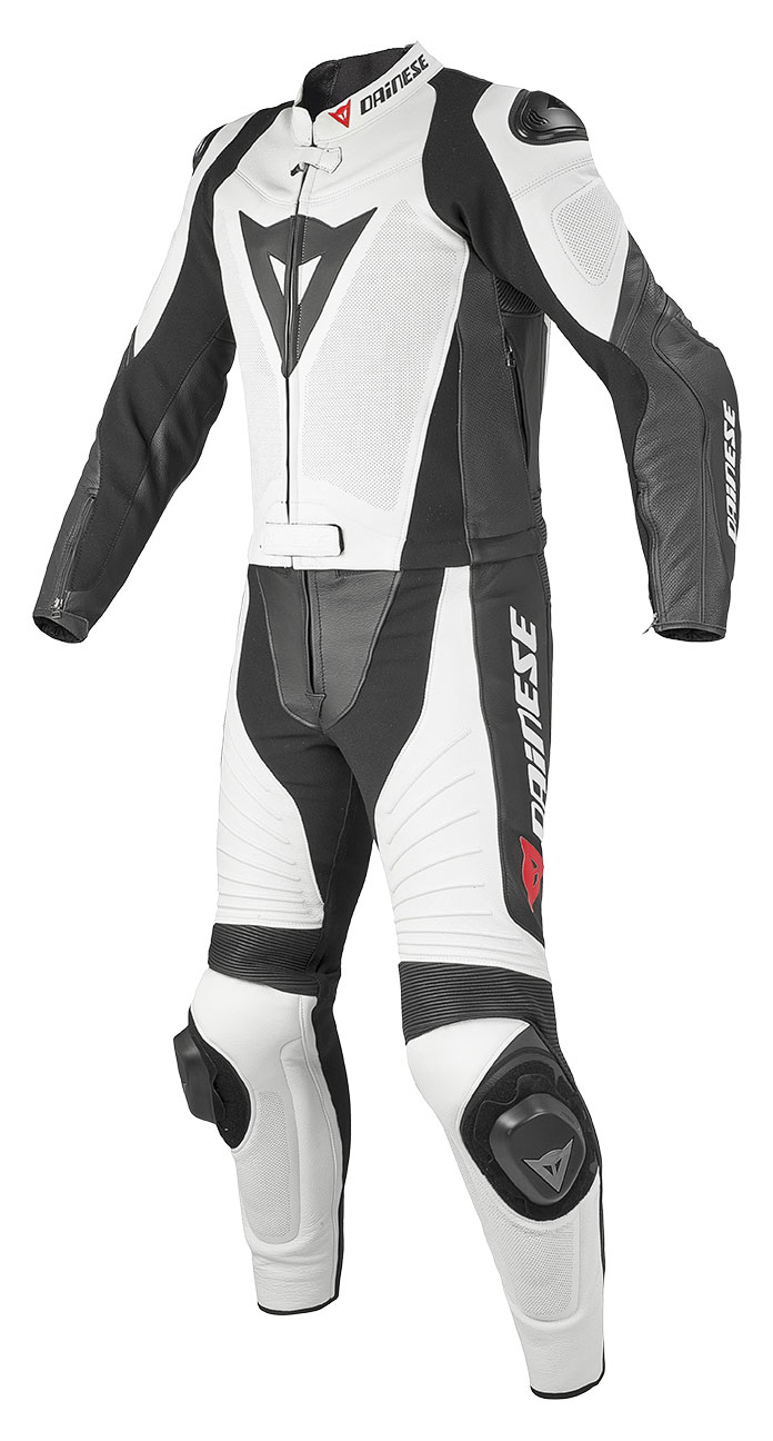 Divisible Dainese leather motorcycle suit summer Aerster White B