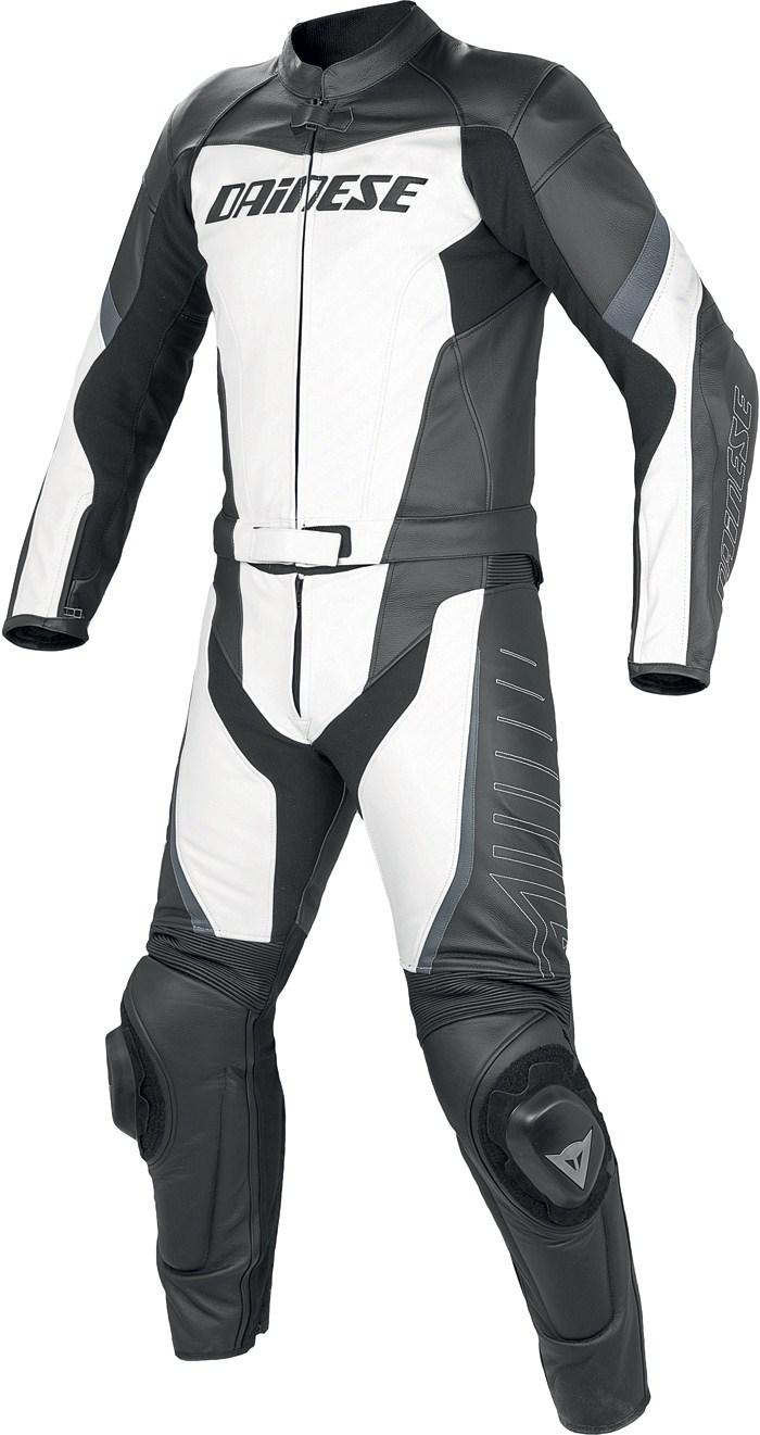 Tuta moto pelle divisibile Dainese Racing Bianco Nero Antracite