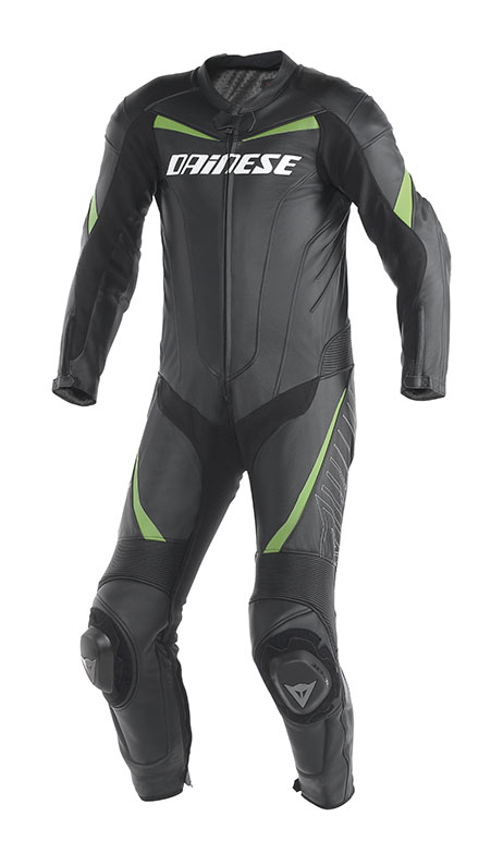 Tuta moto pelle Dainese Racing Nero Verde Kawasaki