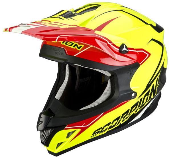 Cross helmet Scorpion VX 15 Red Light Neon Yellow