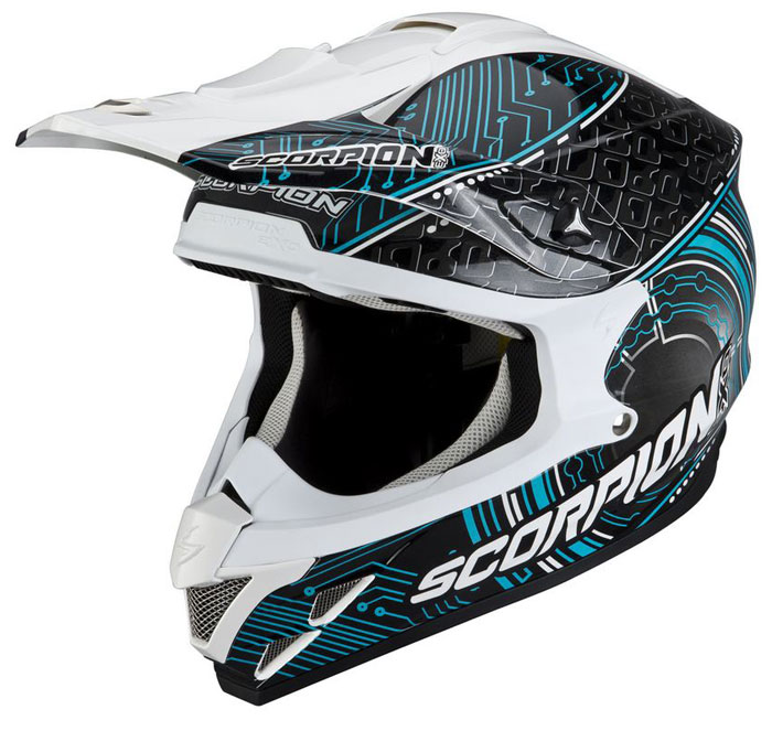 Cross helmet Scorpion VX 15 Matronx Black White Blue
