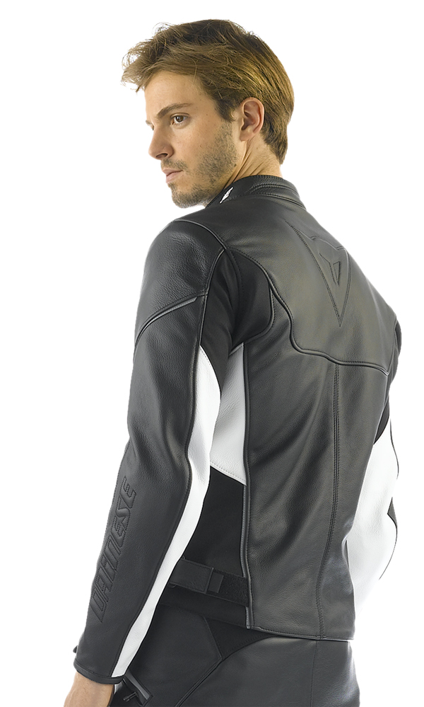 Dainese Cage motorcycle leather jacket black-white