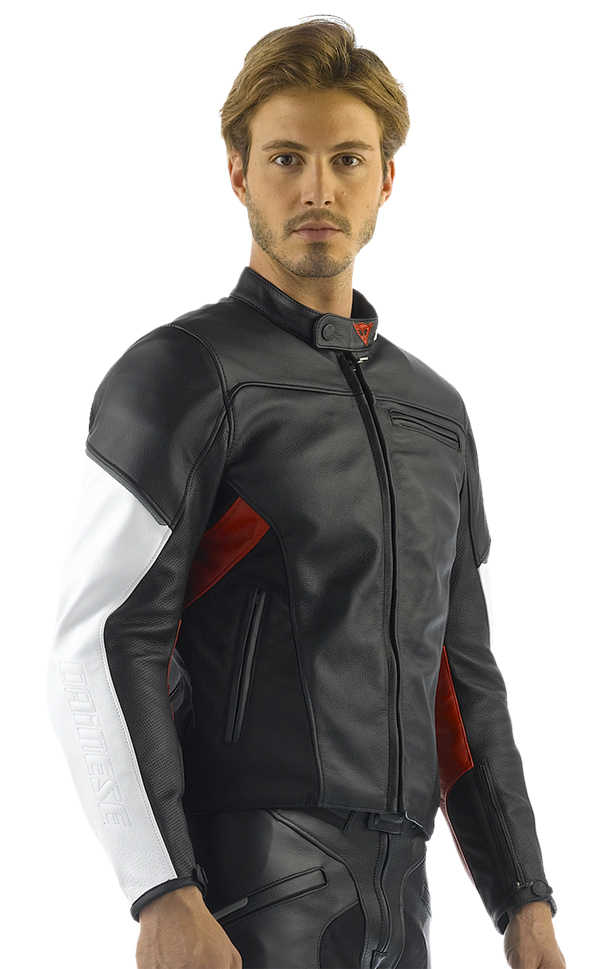 Giacca moto pelle Dainese Cage nero-bianco-rosso