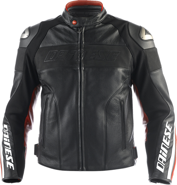 Dainese Alien Summer leather jacket black-red