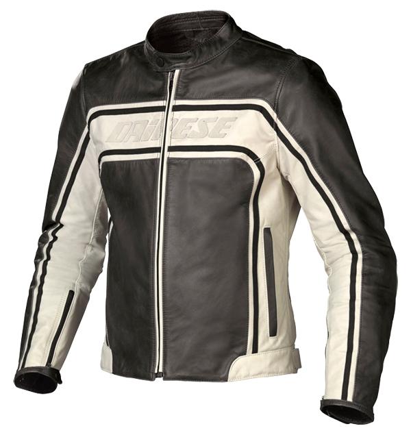 Giacca moto pelle Dainese Tourage Vintage nero-ghiaccio